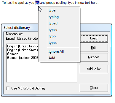 Click to view JRSpell Checker 5.0 screenshot